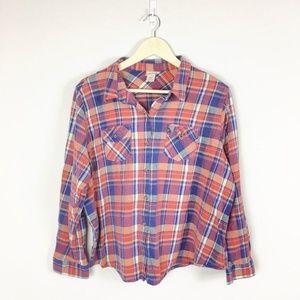 (P1-17) Mossimo Sz 2 Plaid Blouse Long Sleeves